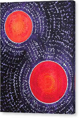 Two Suns Original Painting Canvas Print by Sol Luckman