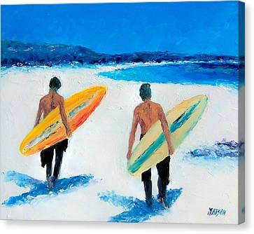 Two Surfers At Byron Bay Canvas Print by Jan Matson