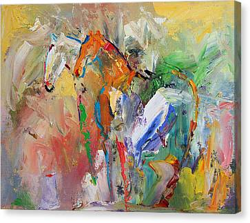 Two Together Horse 29 2014 Canvas Print by Laurie Pace
