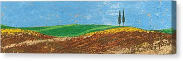 Two Trees, Rolling Hills, Tuscany, 2005 Oil On Paper Canvas Print by Trevor Neal