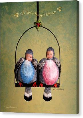 Two Turtle Doves Canvas Print by Anne Geddes