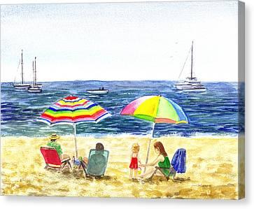 Two Umbrellas On The Beach California  Canvas Print by Irina Sztukowski