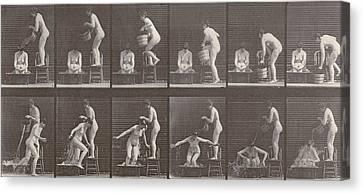 Two Women Bathing Canvas Print by Eadweard Muybridge