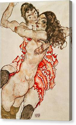 Two Women Embracing Canvas Print by Egon Schiele
