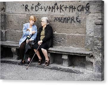 Two Women In Naples Canvas Print by Jim  Calarese
