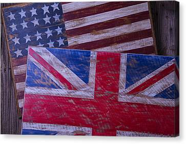 Two Wooden Flags Canvas Print by Garry Gay