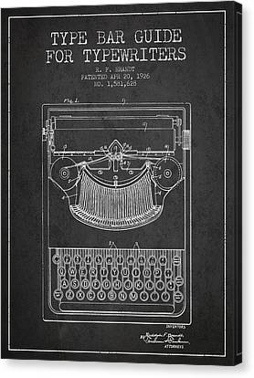 Type Bar Guide For Typewriters Patent From 1926 - Charcoal Canvas Print by Aged Pixel