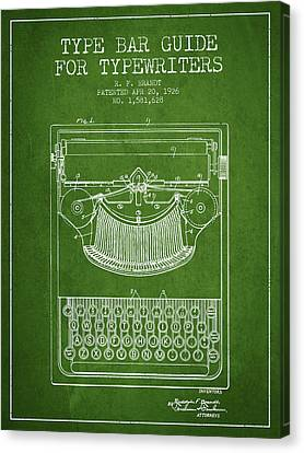 Type Bar Guide For Typewriters Patent From 1926 - Green Canvas Print by Aged Pixel