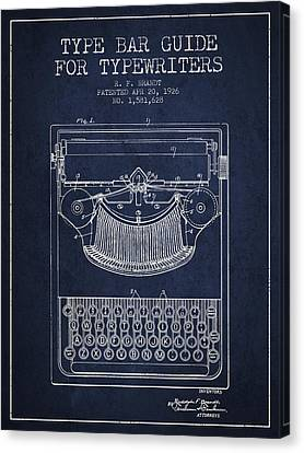 Type Bar Guide For Typewriters Patent From 1926 - Navy Blue Canvas Print by Aged Pixel