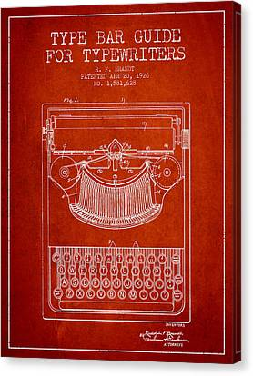 Type Bar Guide For Typewriters Patent From 1926 - Red Canvas Print by Aged Pixel