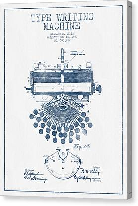 Type Writing Machine Patent Drawing From 1897 - Blue Ink Canvas Print by Aged Pixel