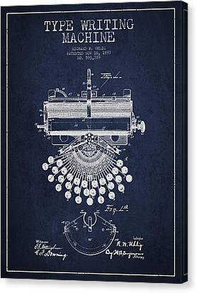 Type Writing Machine Patent Drawing From 1897 - Navy Blue Canvas Print by Aged Pixel