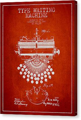 Type Writing Machine Patent Drawing From 1897 - Red Canvas Print by Aged Pixel