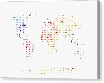 Typographic World Map Canvas Print by Celestial Images