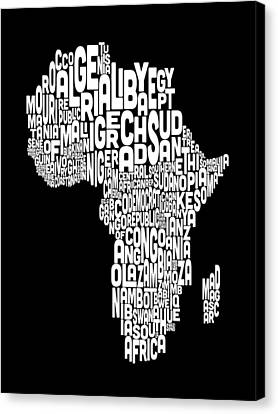 Typography Map Of Africa Map Canvas Print by Michael Tompsett