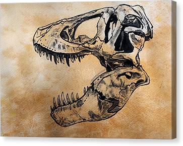 Tyrannosaurus Skull Canvas Print by Harm  Plat