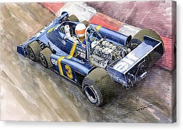 Tyrrell Ford Elf P34 F1 1976 Monaco Gp Jody Scheckter Canvas Print by Yuriy  Shevchuk