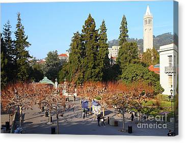 Uc Berkeley . Sproul Plaza . Sather Gate And Sather Tower Campanile . 7d10002 Canvas Print by Wingsdomain Art and Photography