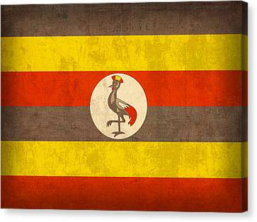 Uganda Flag Vintage Distressed Finish Canvas Print by Design Turnpike