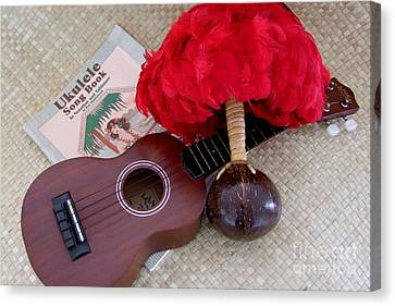 Ukulele Ipu And Songbook Canvas Print by Mary Deal