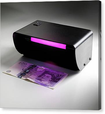 Ultraviolet Banknote Checker Canvas Print by Science Photo Library