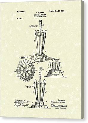 Umbrella Holder 1900 Patent Art Canvas Print by Prior Art Design