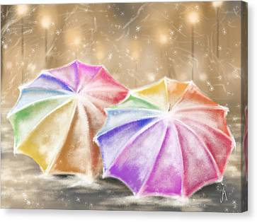 Umbrellas Canvas Print by Veronica Minozzi