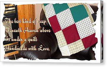 Under A Quilt Handmade With Love Canvas Print by Barbara Griffin