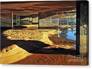 Under The Bridge Canvas Print by Kaye Menner