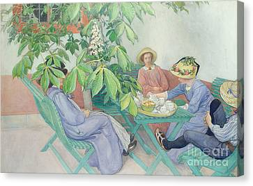 Under The Chestnut Tree Canvas Print by Carl Larsson