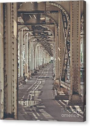 Under The L In Chicago Canvas Print by Emily Kay