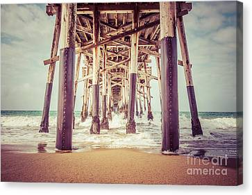 Under The Pier In Orange County California Picture Canvas Print by Paul Velgos