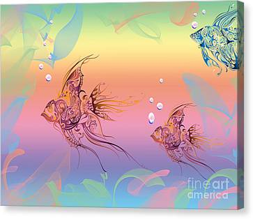 Under The Sea Angel Fish Canvas Print by Cheryl Young