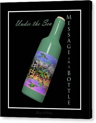 Under The Sea Message In A Bottle Canvas Print by Betsy Knapp