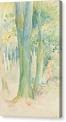 Under The Trees In The Wood Canvas Print by Berthe Morisot
