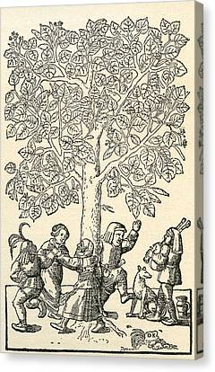 Under The Village Linden Tree, After A 16th Century Engraving By  Kandel.  From Illustrierte Canvas Print by Bridgeman Images