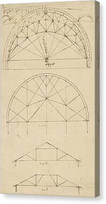 Underdrawing For Building Temporary Arch Canvas Print by Leonardo Da Vinci