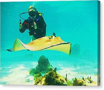 Underwater Photographer And Stingray Canvas Print by John Malone Halifax Artist