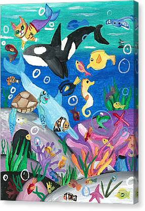 Underwater With Kitty And Friends Canvas Print by Artists With Autism Inc
