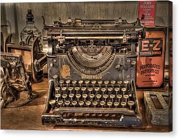 Underwood Typewriter Number 5 Canvas Print by Debra and Dave Vanderlaan