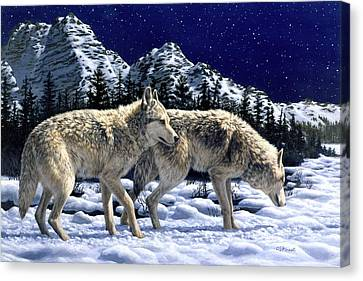 Wolves - Unfamiliar Territory Canvas Print by Crista Forest