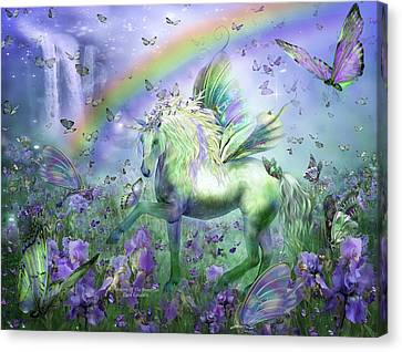 Unicorn Of The Butterflies Canvas Print by Carol Cavalaris