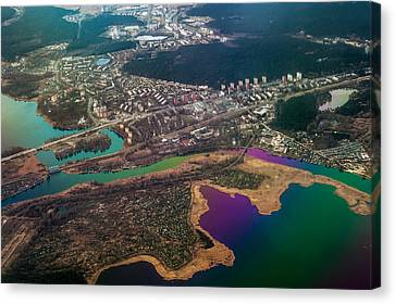 Unique Overview. Rainbow Earth Canvas Print by Jenny Rainbow