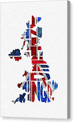 United Kingdom Typographic Kingdom Canvas Print by Ayse Deniz