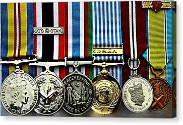 United Nations Peacekeeping Korean War Nato Medals Canvas Print by Danielle  Parent
