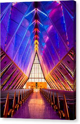 Air Force Canvas Print featuring the photograph United States Air Force Academy Protestant Cadet Chapel by Alexis Birkill