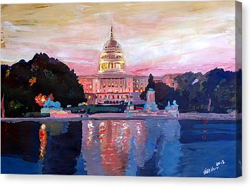 United States Capitol In Washington D.c. At Sunset Canvas Print by M Bleichner