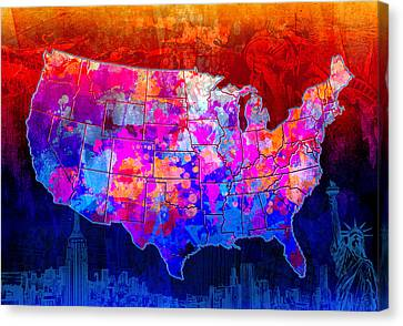 United States Colorful Map Collage Canvas Print by Bekim Art