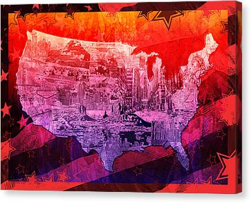United States Drawing Collage Map 3 Canvas Print by Bekim Art