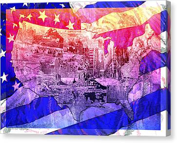 United States Drawing Collage Map 4 Canvas Print by Bekim Art